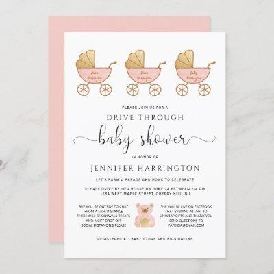 Drive Through Baby Girl Shower Retro Carriage Pink Invitation