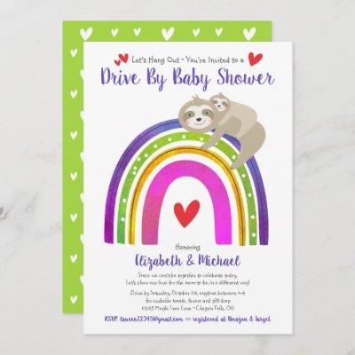 Drive Through Baby Shower Cute Sloths Boho Rainbow Invitation