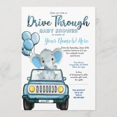 Drive Through Baby Shower Elephant in Car Invitation