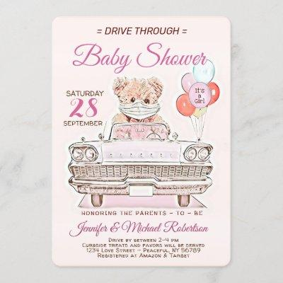 Drive Through Baby Shower for a Girl Invitation