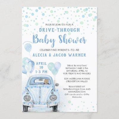 Drive Through Boy Baby Shower Bue Car Invitation