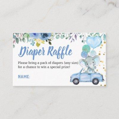 Drive Through Boy Baby Shower Diaper Raffle Ticket Enclosure Card
