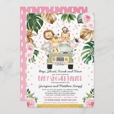Drive Through Girl Baby Shower Pink Floral Safari Invitation