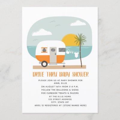 Drive Thru Baby Shower Orange Beach Camper Invitation