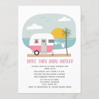Drive Thru Baby Shower Pink Beach Camper Invitation