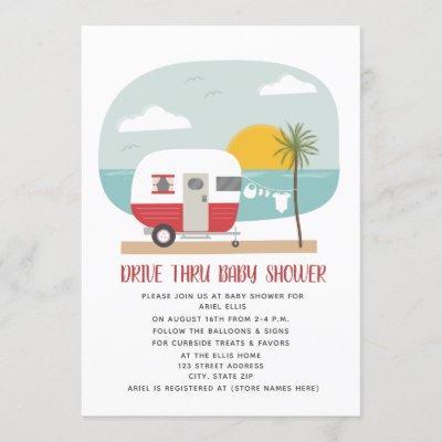 Drive Thru Baby Shower Red Beach Camper Invitation