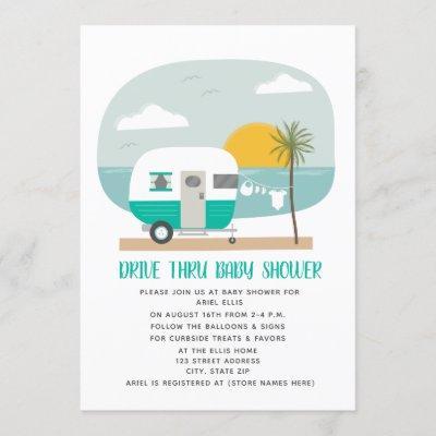 Drive Thru Baby Shower Teal Beach Camper Invitation