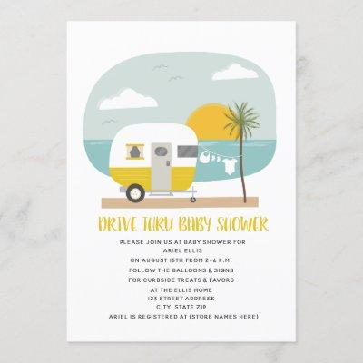 Drive Thru Baby Shower Yellow Beach Camper Invitation