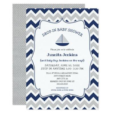 Drop in sailboat boy baby shower invitation