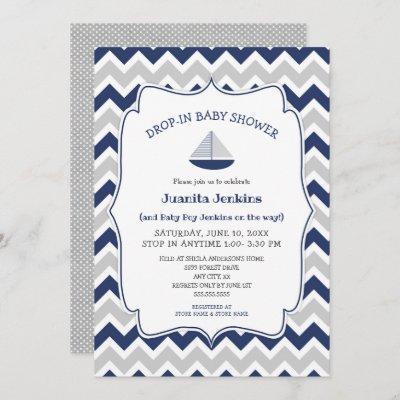Drop in sailboat boy baby shower invitation