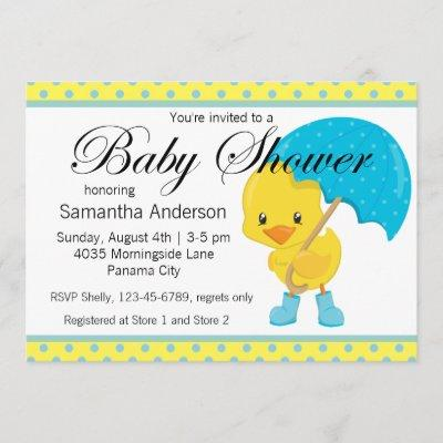 Ducky with Umbrella Baby Shower Invitation