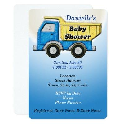 Dump Truck Baby Shower Invitation