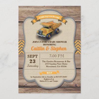 Dump truck baby shower invitation. Vintage retro Invitation