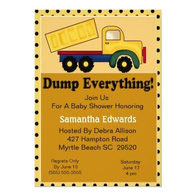Dump Truck Theme Invitations
