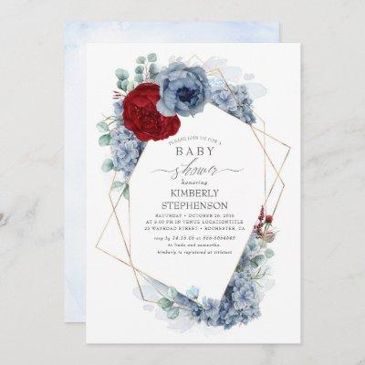 Dusty Blue and Burgundy Red Floral Baby Shower Invitation