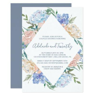 Dusty Blue Floral Diamond Couples Shower Invitations