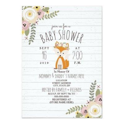 Dusty Floral Boho Fox Gray Wood Baby Shower Invitation
