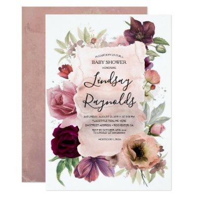 Dusty Pink and Burgundy Floral Vintage Baby Shower Invitation