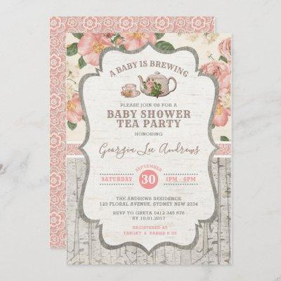 Dusty Pink Baby Shower Tea Party Vintage Floral Invitation