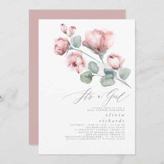 Dusty Pink Floral Elegant It's a Girl Baby Shower Invitation