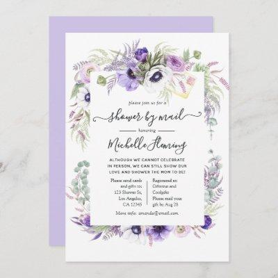 Dusty Violet Floral Baby Shower by Mail Invitation