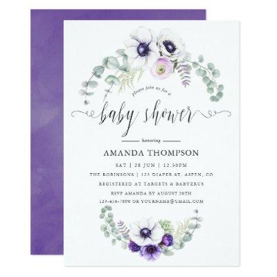 Dusty Violet Floral Baby Shower Invitations