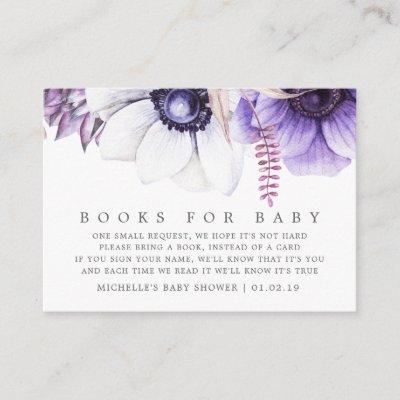 Dusty Violet Watercolor Floral Baby Book Request Enclosure Card