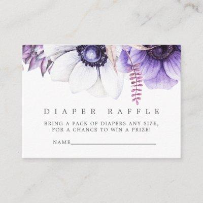 Dusty Violet Watercolor Floral Baby Diaper Raffle Enclosure Card