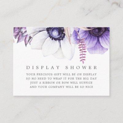 Dusty Violet Watercolor Floral Baby Display Shower Enclosure Card