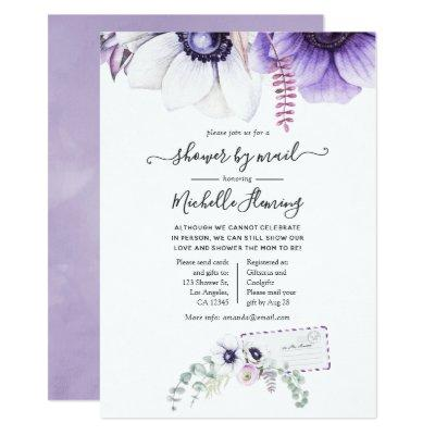 Dusty Violet Watercolor Floral Baby Shower by Mail Invitation