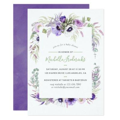 Dusty Violet Watercolor Floral Baby Shower Invite