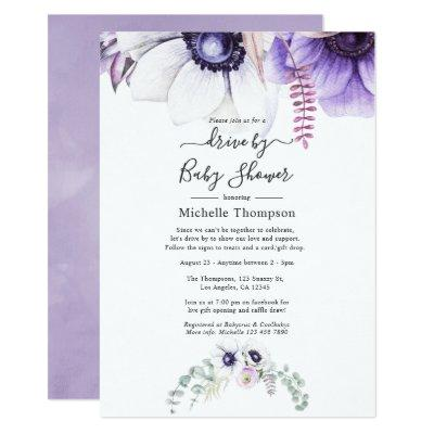 Dusty Violet Watercolor Floral Drive By Shower Invitation