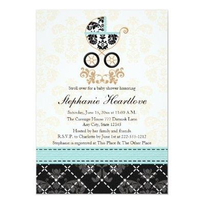 Eggshell Blue Damask Baby Carriage Baby Shower Invitation