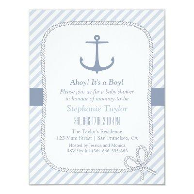 Elegant Anchor Nautical Baby Shower Invitations