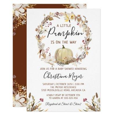 Elegant Autumn Floral Pumpkin Fall Baby Shower Invitation