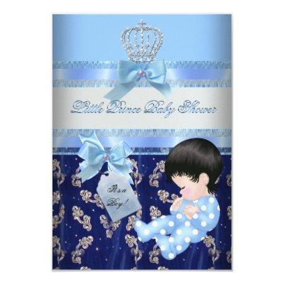 Elegant Baby Shower Boy Blue Little Prince Crown 2 Invitations