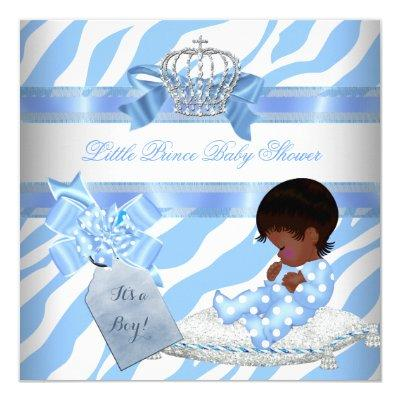 Elegant Baby Shower Boy Blue Zebra Prince Ethnic Invitations