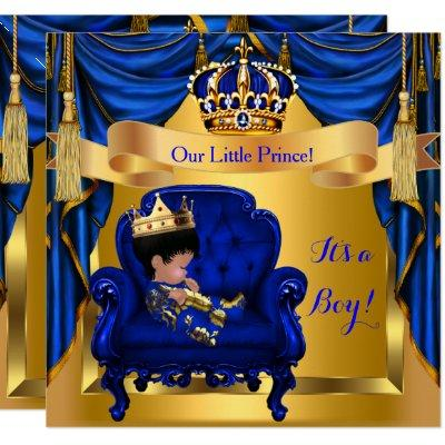 Elegant Baby Shower Boy Prince Royal Blue Gold Invitations