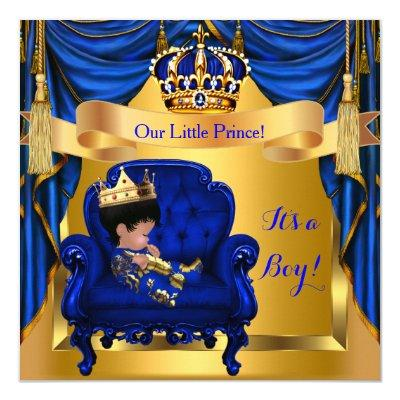 Elegant Baby Shower Boy Prince Royal Blue Gold Invitations