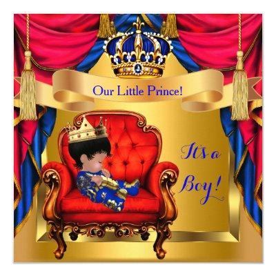 Elegant Baby Shower Boy Prince Royal Blue Red Gold Invitations