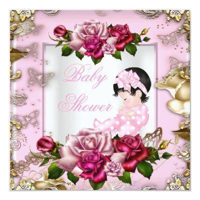 Elegant Baby Shower Girl Pink Roses White Gold Invitations