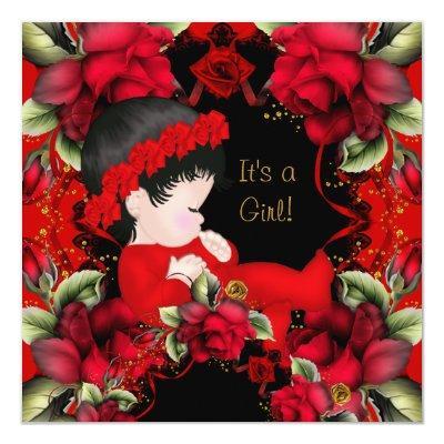 Elegant Baby Shower Girl Red Rose Flowers 2 Invitations