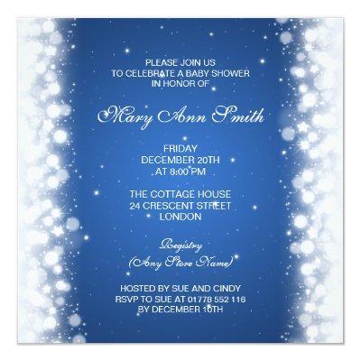 Elegant Baby Shower Magic Sparkle Blue Invitations