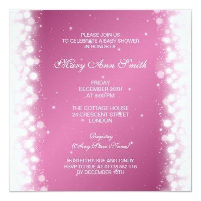 Elegant Baby Shower Magic Sparkle Pink Invitations