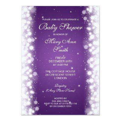 Elegant Baby Shower Magic Sparkle Purple Invitations