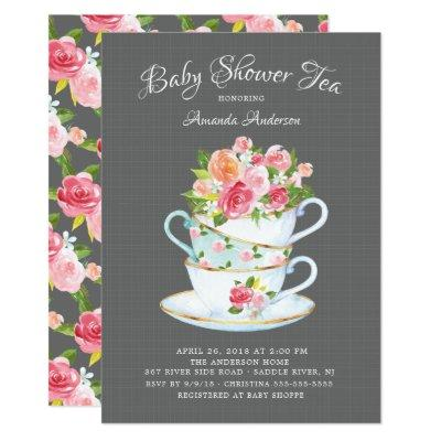 Elegant Baby Shower Tea Invitations