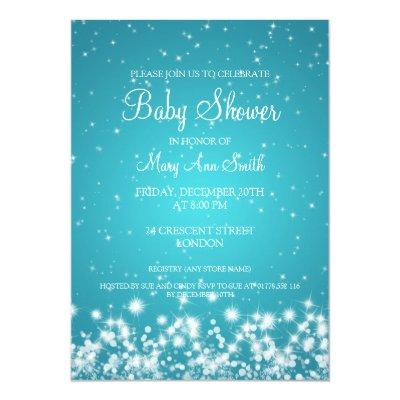 Elegant Baby Shower Winter Sparkle Turquoise Invitations
