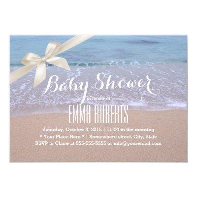 Elegant Beach Baby Shower with Ivory Ribbon Invitation