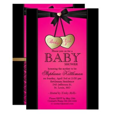 Hot pink black gold baby shower invitations baby shower invitations elegant black and pink damask filmwisefo