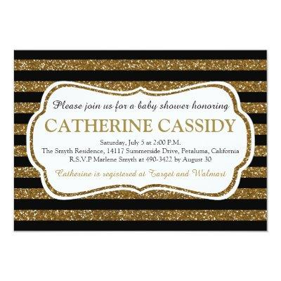 Elegant Black & Gold Glitter Stripes Baby Shower Invitation